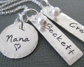 Hand Stamped Mommy Necklace - Personalized Sterling Silver Jewelry - Two Little Tags and Circle with Hammered Border - Nana/Grandma Necklace