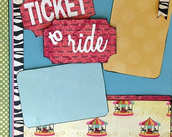 12x12 Scrapbooking Layouts Kit Premade 2 Page Amusement Park Ticket