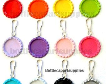 "30 1"" Flat Bottle Cap Double Sided Painted Colors Lanyard Zipper Pull Clip Charms  Add on Epoxy Stickers, Clear or Glitter"
