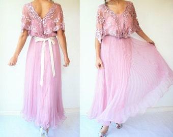 Vintage 70's JACK BRYAN Blush Pink Sequin Dress / Accordion Pleat Skirt / Mesh Lace Shawl Sleeves