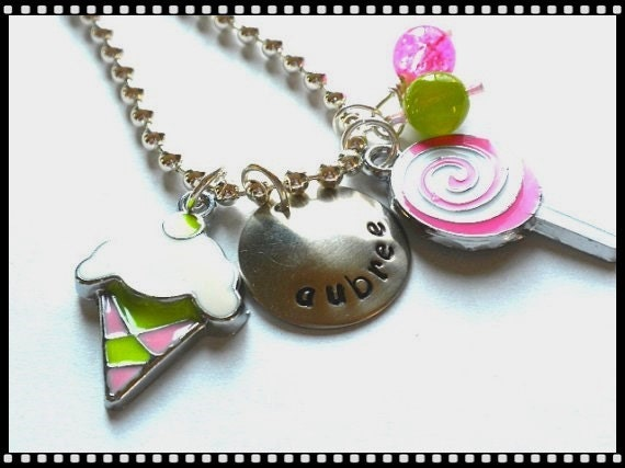 Hand Stamped Charm Necklace SWEETS Personalized Charm Charm Necklace #SW80