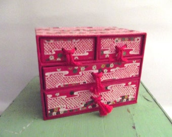 Charming Vintage Chinese Asian Red Paper Box Jewelry Box