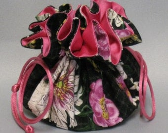 Jewelry Tote---Drawstring Organizer Pouch--- Butterfly Floral Design---Medium Size