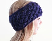 Child Knit Headband - Small Girls Crochet Ear Warmer - Purple Headband