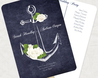 nautical wedding ceremony program fan anchors away - printable customised anchor rose beach boat sea navy chalkboard order of service diy