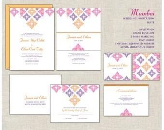 Indian Wedding Invitation Suite, India, Moroccan Wedding, Pink & Gold, Purple, Vibrant Wedding, Belly Band, Mehndi, Elegant Wedding