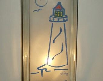 Lighthouse Glass block lamp upcycled  FREE SHIPPING handmade night light  beach house lamp coastal decor nautical lamp seaside decor