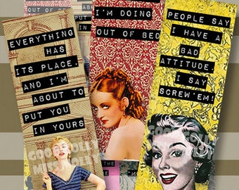 Good Golly Miss Molly Bookmark Quotes 2x6 Domino Collage Sheet Tile Digital Collage Sheet Words Sayings Bookmarks 1950s DIY