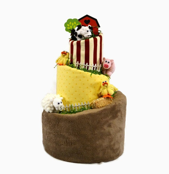 Farm Baby Shower, Barnyard Baby Shower, Farm Animal Shower Decoration, Old McDonald Farm Diaper Cake Shower Centerpiece, Pig, Cow, Sheep