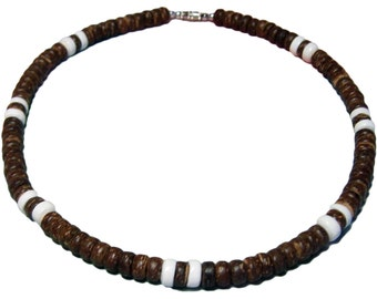 """Native Treasure - Brown Coco White Puka Shell Necklace or Bracelet - 8mm (5/16"""") - 7"""" to 30"""""""