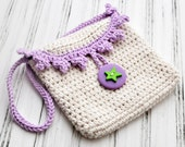 Crocheted Girl's Purse - Crochet Bag - Fashion Purse - Crochet - Lavender - Beige