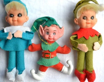 Vintage Black Eye Elf Trio - Christmas Decorations Ornaments - Turquoise Suit Elf