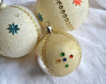 Vintage Mercury Glass Ornaments - Mica Frosted Beaded - 3