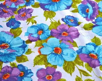 Vintage Fabric - Purple and Blue Floral - 45 x 51