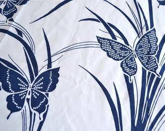 Vintage Bed Sheet - Blue and White Oriental Butterflies - Twin Flat