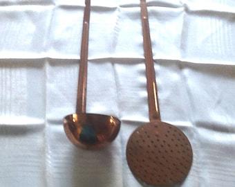 Vintage Copper Ladle and Skimmer