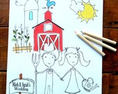 Wedding Coloring Book for kids Wedding Activity Book Wedding Coloring Pages Barn Wedding Personalized book Kids Wedding Favor Coloring pages