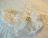 Wedding garter Brides lingerie Vintage lace remake Rhinestone button trim Crinkled silk bow BoHo wedding accessory