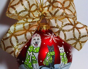 Custom 3 Dog or Cat Christmas Ornament - Let it Snow Design - 3 Pets