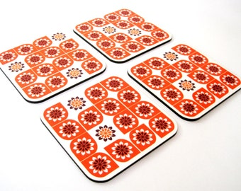 Retro orange geometric flowers kitchen table wooden handmade graphic design drink coasters