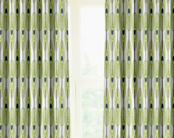 "Pair of designer drapes, two 50"" wide curtain panels,Feathers canal"