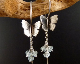 Blue Butterfly Sterling Silver Earrings Handmade Metalwork