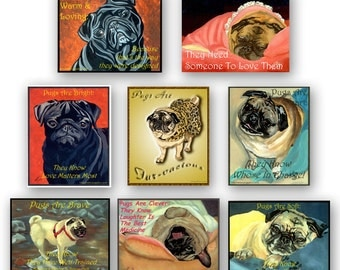 8 Assorted 4x5 notecards with Cute Pug Sayings