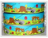 NEW 25 Yards 7/8 FOREST Wonderland animal FRIENDS deer raccoon squirrel tree nuts leaves on Grosgrain Ribbon Hair Bows Scrap booking Decor
