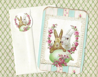 Easter Bunny Cards, Spring Greetings, Card Set