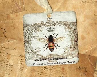 Tags, French Bee, Bee Gift Tags, French Bee Tags