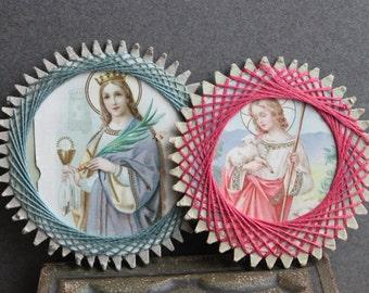 Antique Religious Folk Art / Your Choice Saint Barbara or The Child Jesus