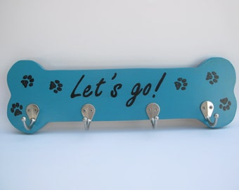 Made to Order Dog Leash/Accessory Holder with 4 hooks shown in Turquoise