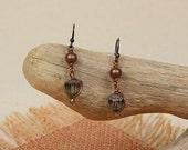 Espiritu Romantico Collection.. Smoked Glass and Vintage Dangle Earrings mge24