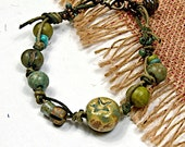 Summer Bracelet, Hippie, Lime Stars, Wrapped Beaded Boho Casual