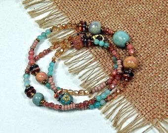 Boho Beaded, Pastel, Chunky Necklace, cabn33