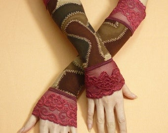 Romantic Brown Gloves with Burgundy Lace Retro, Fusion Dance, Evening Armwarmers, Shabby Chic Gothic Victorian, Baroque Mitains, Fingerless
