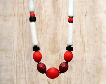 Long African Trade Beads Necklace, Beaded Tribal Statement Necklace, Chunky Ethnic Necklace in Black, Red and White OOAK