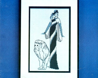 Bare Elegance 1920s Ladies with Lion Leopard Long Tight Black and White Dress Hat Counted Cross Stitch Embroidery Craft Pattern Leaflet 1