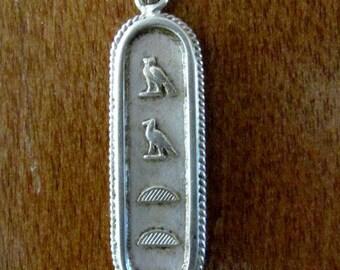 Vintage Sterling Silver Egyptian Cartouche Hieroglyphics Name MATT Pendant 8 grams