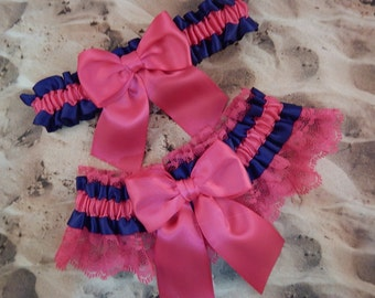 Hot Pink Fuchsia Navy Blue Satin Hot Pink Lace Wedding Bridal Garter Toss Set