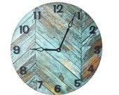 "10"" or 12"" SILENT Teal Turquoise Wall Clock - Wood Image Wall Clock - Unique Wall Clock - Unique Wall Decor - 1963"