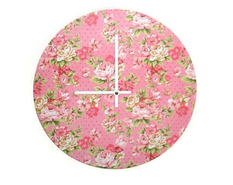 Pink Floral Wall Clock SILENT - 10 or 12 Inches - Pink Wall Decor - Pink Wall Clock - Pink Home Decor - Nursery Decor - 1578