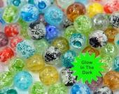 Glow in The Dark  Beads, 20pcs,  10mm, Mixed   Color,  Luminous Beads -B590