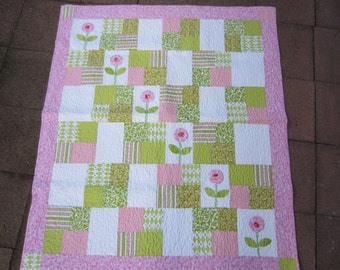 FANCY FLOWERS QUILT Handmade Sweet Girly Floral Toddler