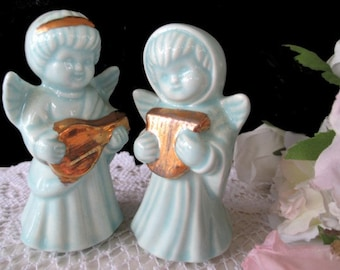 ANGEL FIGURINES * Blue Color With Gold Instruments * Signed Delta 1989 * Set Of Two Angels