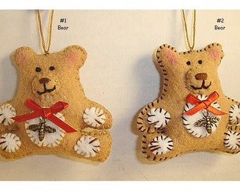 Bear Ornament/Made of Felt/ Handmade/Single OR Set(s)/MADE to Order**