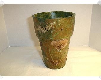 Decoupage Terra-Cotta Pot w/Dried Plants Finish/Handmade*