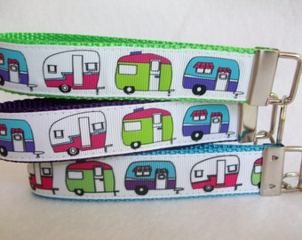 RV Camping Wrist Keychain with Cute Travel Trailers 3 Webbing Choices