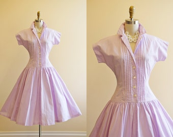 50s Dress - Vintage 1950s Dress - Lavender Pintucked Cotton Full Skirt Garden Party Sundress S - Don't Mean Maybe