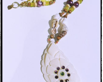 Beaded Necklace with Shells- costume jewelry